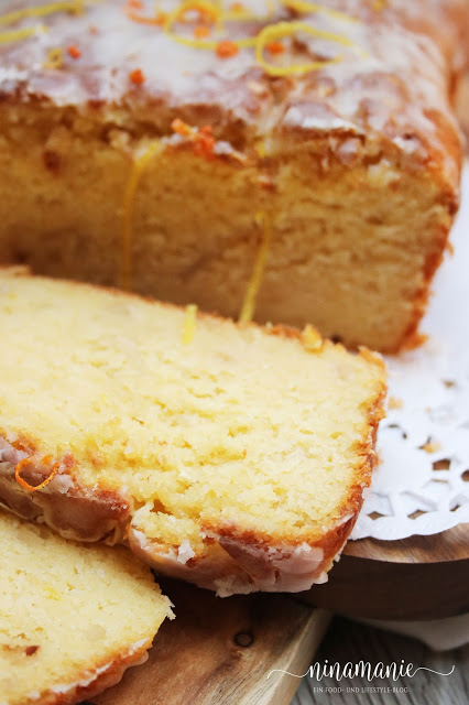 Orangen-Zitronen-Kuchen - angeschnitten