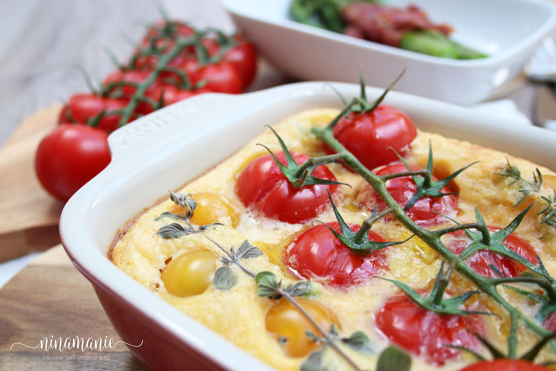 Sommerküche Tomaten : Herzhafter clafoutis mit kirschtomaten ninamanie