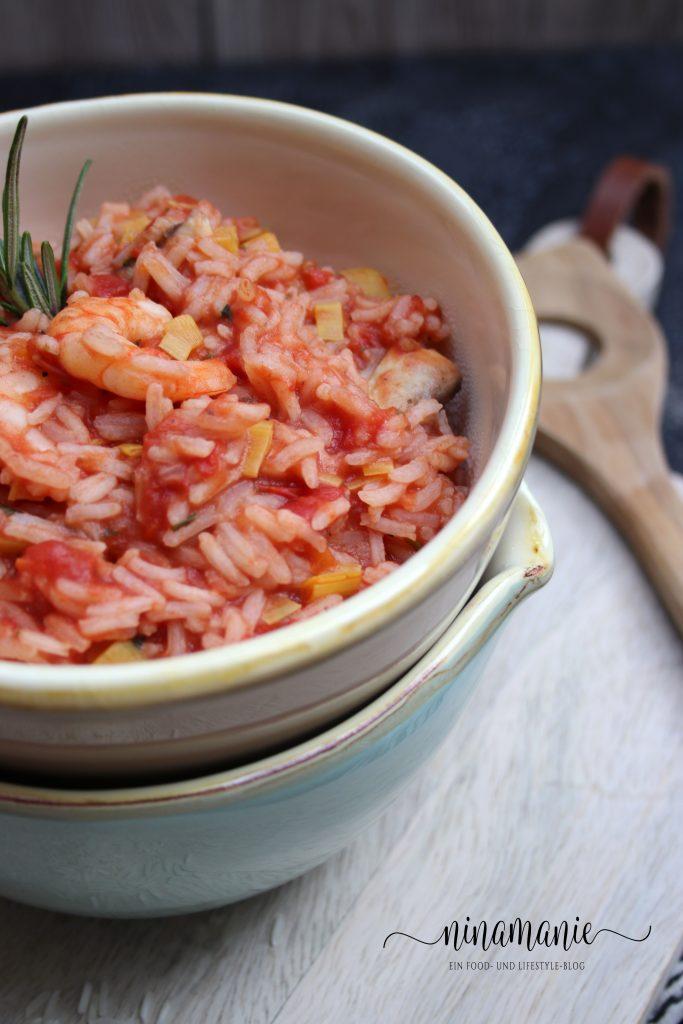 Tomatenreis mit Garnelen