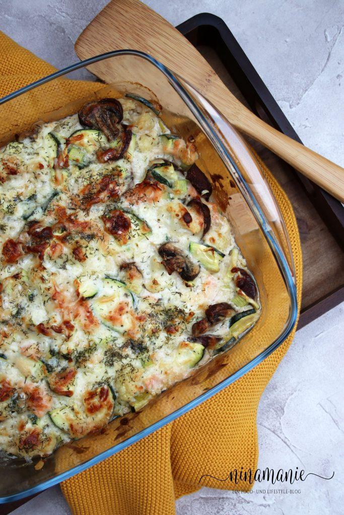 Zucchini-Blumenkohl-Lachs-Auflauf