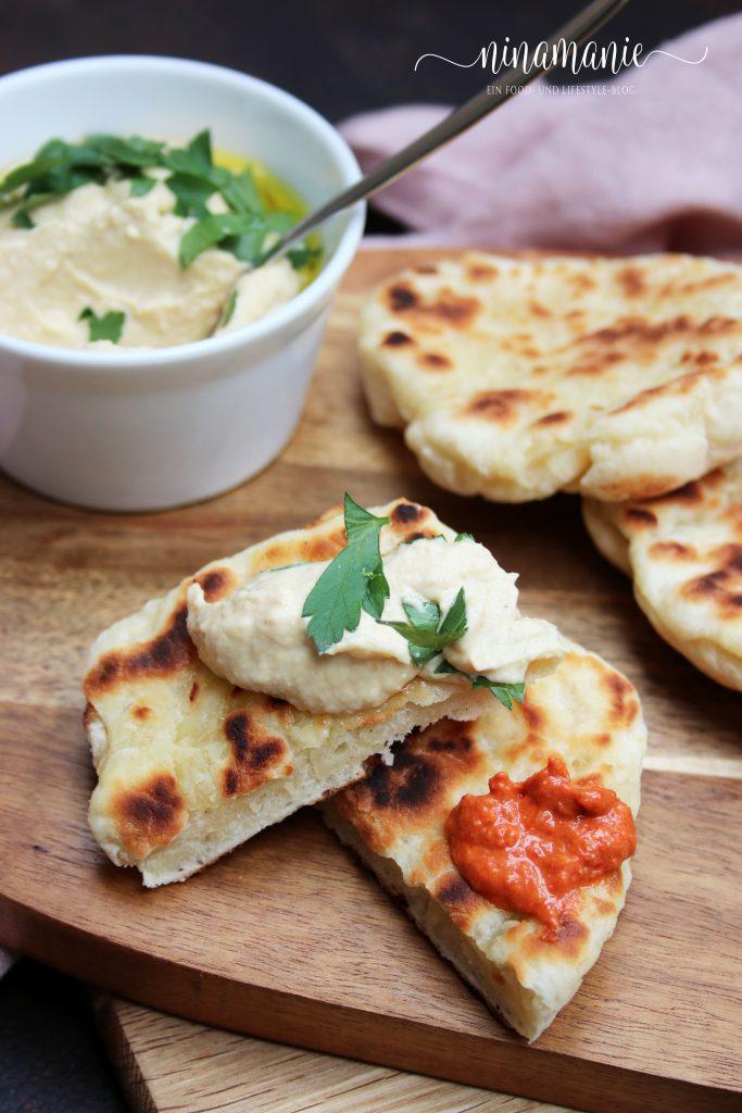 Muhammara, Hummus und Naan