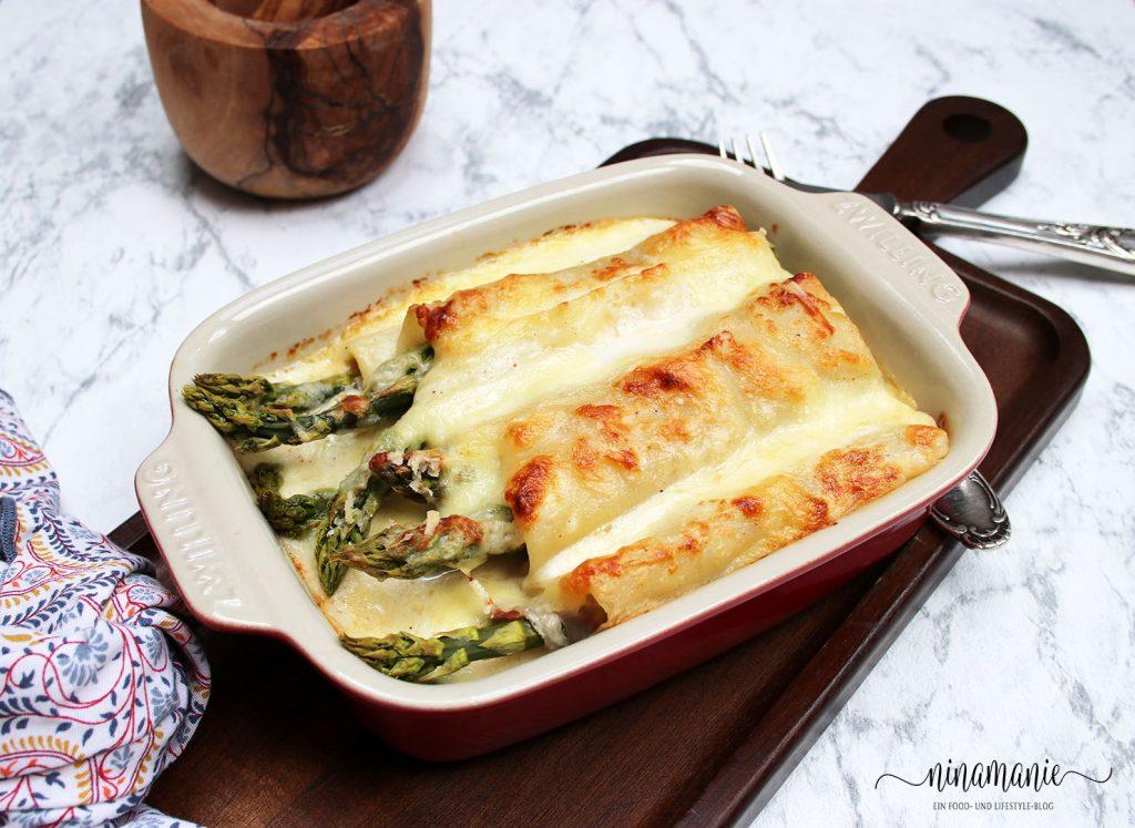 Spargel-Schinken-Lasagne-Röllchen