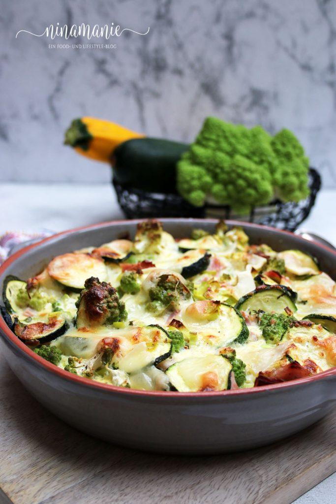 Low carb Zucchini-Romanesco-Gratin