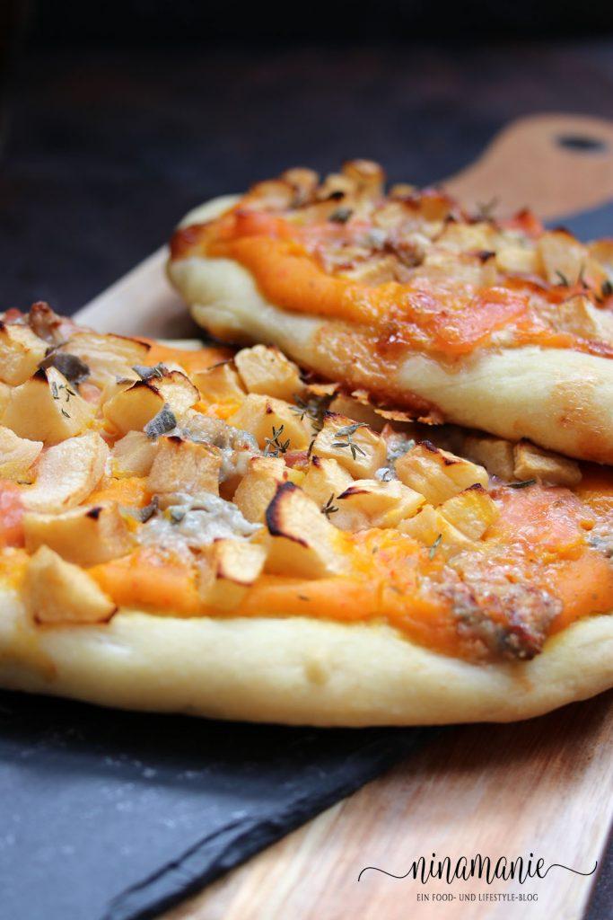 Kleine Pizzas mit Apfel, Kürbis und Lachs