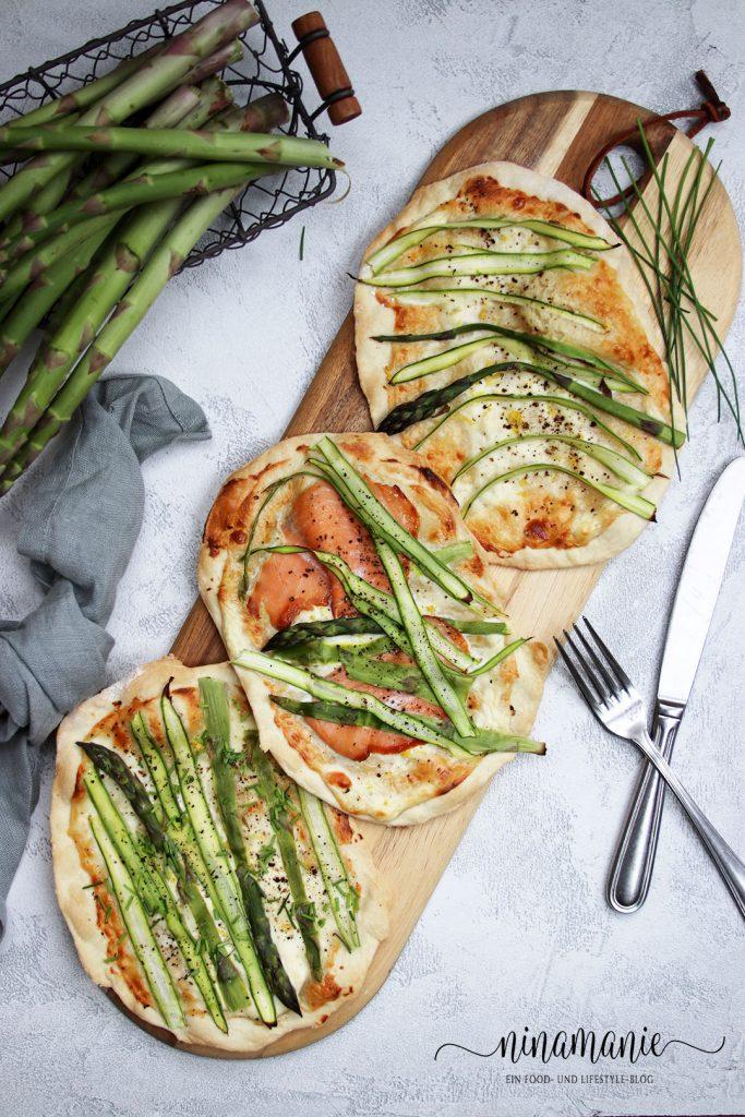 Dinkel-Flammkuchen mit grünem Spargel